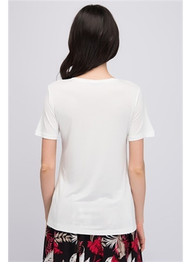 Cottonmood 8150561 V Yaka Içi Dantel Kısa Kol Bluz Ekru